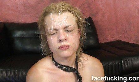 Поклонницу буккаке и генг-бенга грубо отодрали и обкончали с головы до ног свежей спермой