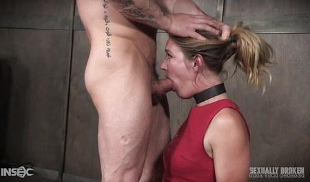 Любовник жестко порет в в рот связанную бабенку с бегающими глазами в формате БДСМ